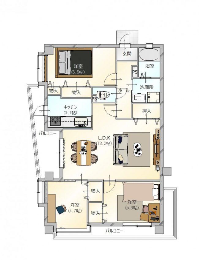 3LDKの間取りのマンション